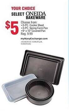 """Navy Exchange Black Friday: Oneida 3-pc Cookie Sheet, 3-pc Spring Form Pan or 9x13"""" Covered Pan for $5.00"""