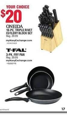 Navy Exchange Black Friday: T-Fal 3-pk Fry Pan for $20.00