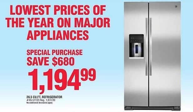 Navy Exchange Black Friday: Kenmore 26-Cu.Ft. Side-by-Side Refrigerator for $1,194.99