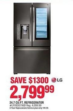Navy Exchange Black Friday: LG 24.7 cu.ft. Refrigerator for $2,799.99