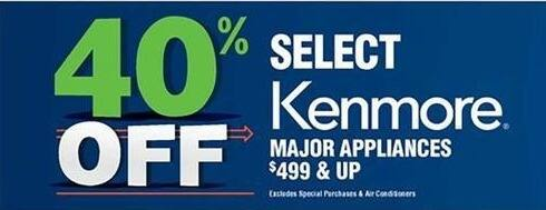 Navy Exchange Black Friday: Select Kenmore Major Appliances $499 & Up - 40% Off