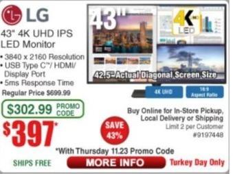 "Frys Black Friday: LG 43"" 4K LED Monitor for $397.00"