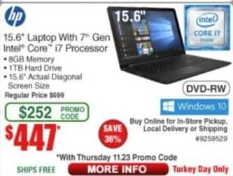"Frys Black Friday: HP 15.6"" Laptop Intel Core i7, 8GB Ram, 1TB HDD, Win 10 for $447.00"