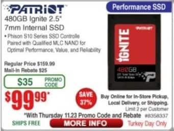 "Frys Black Friday: Patriot 480GB Ignite 2.5"" 7mm Internal SSD for $99.99"