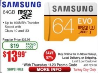 Frys Black Friday: Samsung 64GB MicroSDXC Card for $13.99