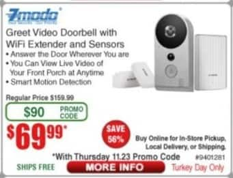 Frys Black Friday: 7modo Greet Video Doorbell w/ Wifi Extender & Sensors for $69.99