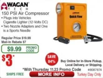 Frys Black Friday: Wagan Tech 150 PSI Air Compressor for $3.00 after $7.00 rebate