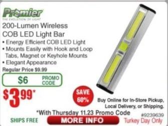 Frys Black Friday: Premier 200 Lumen Wireless COB LED Light Bar for $3.99