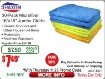 "Frys Black Friday: Shaxon 30-pk Microfiber 16x16"" Jumbo Cloths for $7.49"
