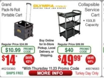 Frys Black Friday: Olympia Tools Collapsible Service Cart for $49.99