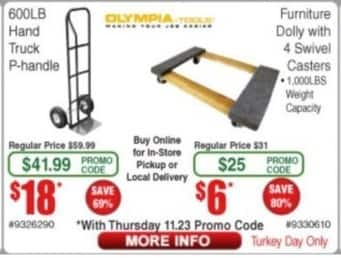 Frys Black Friday: Olympia Tools 600lb Hand Truck P-Handle for $18.00