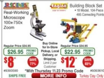 Frys Black Friday: Jr. Scientist Real-working Microscope 100x-750x Zoom for $8.00