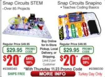 Frys Black Friday: Snap Circuits Snapino for $20.00