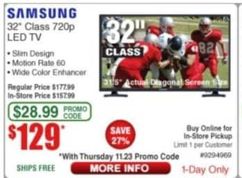 "Frys Black Friday: 32"" Samsung UN32J4001AFXZA 720p LED TV for $129.00"