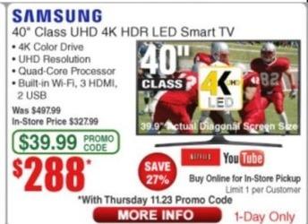 "Frys Black Friday: 40"" Samsung UN40MU6290FXZA 2160p 4K Smart UHD TV for $288.00"