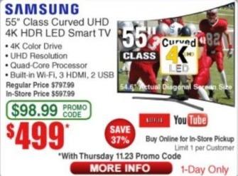 "Frys Black Friday: 55"" Samsung UN55MU6490FXZA 2160p 4K Smart UHD TV for $499.00"