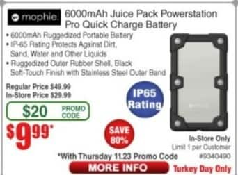 Frys Black Friday: Mophie 6000mAh Juice Pack Powerstation Pro Quick Charge Battery for $9.99