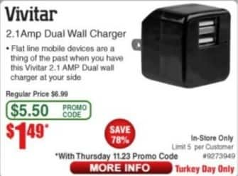 Frys Black Friday: Vivitar 2.1Amp Dual Wall Charger for $1.49
