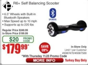 Frys Black Friday: Prime R6+ Self Balancing Scooter for $179.99