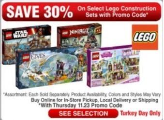 Frys Black Friday: Select Lego Construction Sets - 30% Off