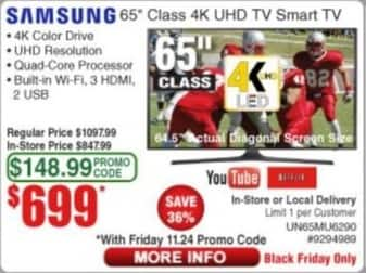 "Frys Black Friday: 65"" Samsung UN65MU6290 2160p 4K Smart UHD TV for $699.00"