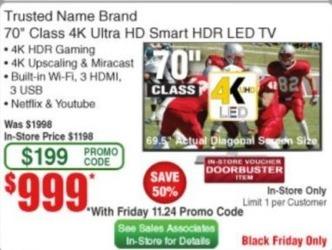 "Frys Black Friday: 70"" Trusted Name Brand 2160p 4K Smart UHD TV for $999.00"