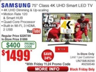 "Frys Black Friday: 75"" Samsung UN75MU6290 2160p 4K Smart UHD TV for $1,499.00"