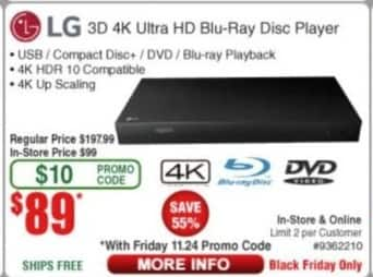 Frys Black Friday: LG 3D 4K UHD Blu-ray Player for $89.00