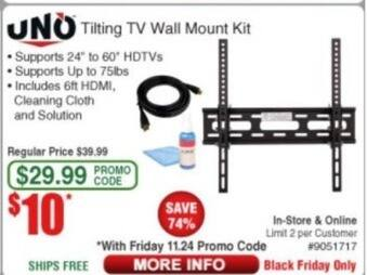 Frys Black Friday: Uno Tilting TV Wall Mount Kit for $10.00