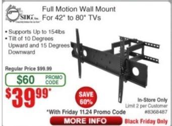 Frys Black Friday: Full Motion TV Wall Mount for $39.99