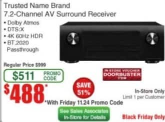 Frys Black Friday: Trusted Name Brand 7.2 Channel AV Surround Receiver for $488.00