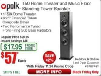 Frys Black Friday: Polk T50 Home Theater & Music Floor Standing Tower Speaker for $57.00