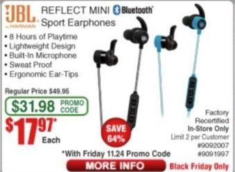 Frys Black Friday: JBL Reflect Mini Bluetooth Sport Earphones - Factory Recertified for $17.97
