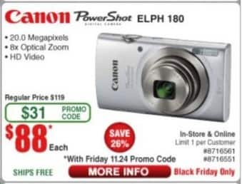 Frys Black Friday: Canon PowerShot ELPH 180 Camera for $88.00