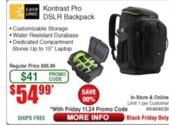 Frys Black Friday: Case Logic Kontrast Pro DSLR Backpack for $54.99
