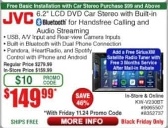 "Frys Black Friday: JVC 6.2"" LCD DVD Car Stereo for $149.99"