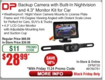"""Frys Black Friday: DP Backup Camera w/ Built-in Nightvision & 4.3"""" Monitor Kit for $28.99"""
