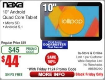 "Frys Black Friday: Naxa Android Quad Core 10"" Tablet for $44.00"