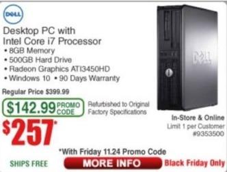 Frys Black Friday: Dell Desktop PC Intel Core i7, 8GB Ram, 500GB HDD, Win 10 - Refurb for $257.00