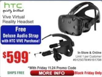 Frys Black Friday: HTC Vive Virtual Reality Headset for $599.00