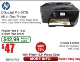Frys Black Friday: HP OfficeJet Pro 6978 All-in-One Printer for $47.00