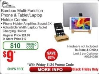 Frys Black Friday: Bamboo Multi Function Phone & Tablet/Laptop Holder Combo for $9.00