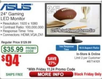 """Frys Black Friday: Asus 24"""" LED Gaming Monitor for $94.00"""