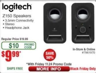 Frys Black Friday: Logitech Z150 Speakers for $9.99