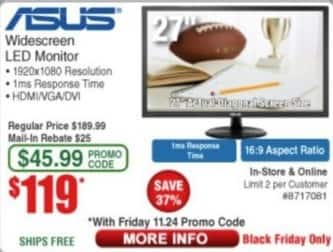 "Frys Black Friday: Asus 27"" Widescreen LED Monitor for $119.00"