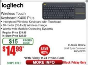 Frys Black Friday: Logitech Wireless Touch Keyboard K400 Plus for $14.99
