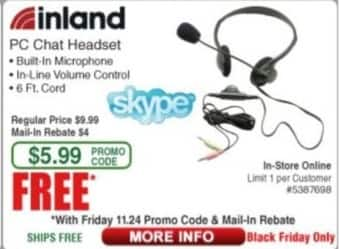 Frys Black Friday: Inland PC Chat Headset for Free after $4.00 rebate