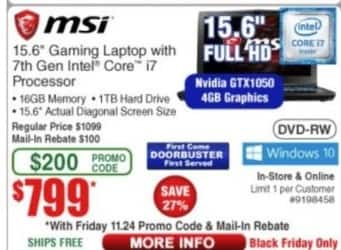 "Frys Black Friday: MSI 15.6"" Gaming Laptop Intel Core i7, 16GB Ram, 1TB HDD, Win 10 for $799.00"