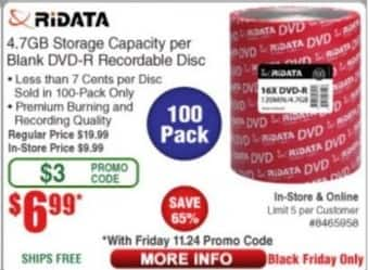 Frys Black Friday: Ridata 4.7GB Storage Capacity per Blank DVD-R Recordable Disc for $6.99