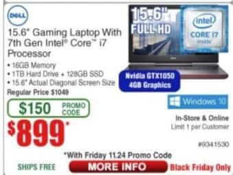 """Frys Black Friday: Dell 15.6"""" Gaming Laptop Intel Core i7, 16GB Ram, 1TB HDD, Win 10 for $899.00"""